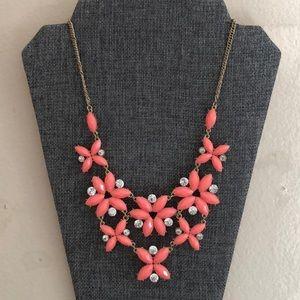 Neon Pink Gems and Rhinestones Statement Necklace